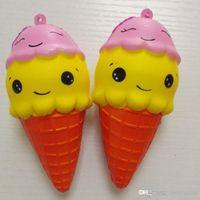 yüz stresini giderme toptan satış-10 cm Squishy Çift Gülen Yüz Dondurma Oyuncak Jumbo Rahatlatıcı Stres Ekmek Dcompression Yavaş Yükselen Ribaund Tatlı Kokulu Oyuncaklar