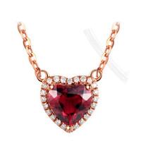colar de coração de pedra vermelha venda por atacado-Coração Forma Red Stone Pingente Colares Mulheres Valentine Pingentes De Pedra Colar