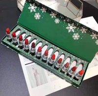 горячая помада оптовых-Горячие рождественские подарки 12 цветов матовые помады набор макияж блеск для губ DHL Бесплатная доставка