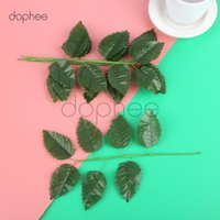 зеленый шелк оставляет ремесло оптовых-dophee 5pcs Silk Green leaves Wedding Decoration DIY Artificial Flower Rose Bouquet Leaf Accessories Craft Fake Flower
