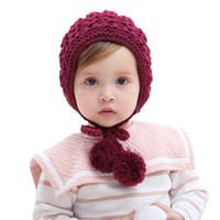 Wholesale bonnet hat for baby resale online - Winter Handmade Wool Knitted Pom Pom Hat Cap For Kids Baby Boys Girls Warm Earflap Beanie Bonnet Faux Fur Pompom Hat Skullies
