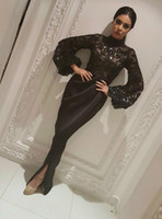 robe de concurso venda por atacado-Elegante Dubai Arábia Saudita Manga Longa Sereia Vestidos de Noite Sheer Lantejoulas Preto Muçulmano Dividir Longo Prom Pageant robe de mariée Vestidos de Festa