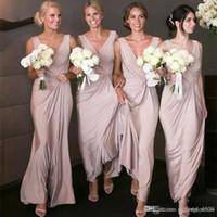 chiffon brautjungfer kleid drapieren großhandel-Sexy Dusty Rose Brautjungfernkleider Lange V-ausschnitt Bodenlangen Chiffon Drapiert Ärmellose Trauzeugin Formelle Kleidung Für Hochzeitsgäste Frauen