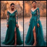 vestidos de renda longa rendilhado preto venda por atacado-2020 negras africanas manga comprida Lace Vestidos Festa Plus Size Side Slit Ladies Mulheres Prom Formal Vestidos Vestido de Noite