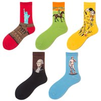 Wholesale cycling socks sale for sale - Group buy Famous Painting Middle Stocking Women And Men Hose Retro Cotton Socks More Color Durable Factory Direct Sales yt C1