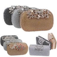 bolsas para vestidos de noche al por mayor-Embrague de diamantes de lujo bolso de noche para mujer paquete de cena con vestido diseñador bolsos bolso de hombro organizador de almacenamiento de regalo WX9-1452