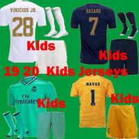 kits de fútbol para niños al por mayor-Kids 2019 2020 kits de la camiseta de fútbol del Real Madrid set 19 20 niños varones PELIGRO camiseta de fútbol VINICIOS ASENSIO SERGIO RAMOS camisetas de fútbol