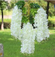 crisantemo amarillo de seda al por mayor-Vino de glicina elegante flor de seda artificial glicina vid ratán para bodas centro piezas decoraciones ramo guirnalda