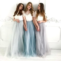 Wholesale piece wedding guest dresses for sale - Group buy Two Pieces Tulle Long Boho Bridesmaid Dresses Lace Top Long Beach Maid of Honor Gowns Wedding Guest Dresses BM1958