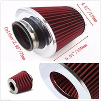 Wholesale clean green cars for sale - Group buy Car Air filter tip of Stainless Steel of High Flow cold air Inlet Filter Cleaner intake system refitting Kit
