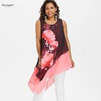 asymmetrische chiffonbluse großhandel-Plus Asymmetrische Größe Polyester Blumenärmel Rosegal Bluse Frauen Lange Damen-Shirts Blusen Frauen Tops und Blusen Frauenkleidung