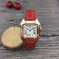 en iyi deri toptan satış-Yeni Çift Lüks marka kadın saatler Moda Deri kayış Altın Kuvars Bayanlar için Klasik Bilek İzle en iyi Sevgililer hediye relogios