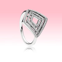 Wholesale geometric rings for sale - Group buy Authentic Sterling Silver Rings High quality Wedding Jewelry for Pandora Clear CZ Geometric Lines Ring with Original box for Women Girls
