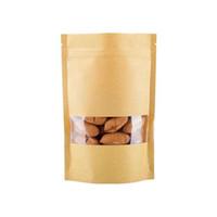 fensterkraft braun taschen großhandel-9x14 cm 100 Stücke Lebensmittel Taschen Feuchtigkeitsfest Braun Kraftpapiersäcke mit fenster Doypack Beutel Ziplock Verpackung für snacks