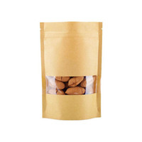 оконные крафт-коричневые мешки оптовых-Мешки еды влагостойкие коричневые мешки Kraft бумажные с окном Doypack мешок Ziplock упаковка для закусок печенье
