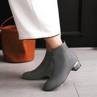 botas estilo euro venda por atacado-Tamanho grande 11 12 13 estilo Euro-Americano de cabeça redonda calcanhar quadrado baixo calcanhar lateral zipper botas moda