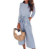daa64abd59f8 Autumn Winter Long Sleeve Women Jumpsuits Casual Wide Leg Pants Sexy Striped  Pockets Overalls Jumpsuits Plus Size Female GV613