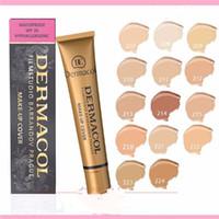 heiße abdeckungen großhandel-DERMACOL Gold Tube DC Concealer Hohe Qualität Hot 14 Farben Make-up Abdeckung Extreme Foundation Face Wasserdichte Creme Flüssiges Gesicht Make-up