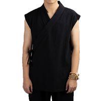 keten takım elbise ceketi erkekler toptan satış-Geleneksel Çin Giyim 2019 Hanfu Erkekler Keten pamuk kolsuz Ceket erkek tang takım Kimono Hırka Erkek Açık Dikiş Ceket