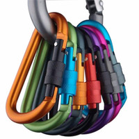 Wholesale rock climbing keyrings resale online - 8cm Aluminum Alloy Carabiner D Ring Key Chain Clip Multi color Camping Keyring Snap Hook Outdoor Travel Kit Quickdraws DLH056