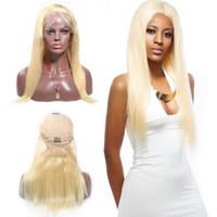 perruques de dentelle brésilienne de haute qualité achat en gros de-Brésilienne de haute qualité 613 Blonde Lace Front Wig 13by6 Lace Front perruque naturelle soyeuse droite Perruques de cheveux humains avec la séparation libre