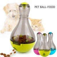 iq oyuncakları toptan satış-Kedi Besleyiciler Gıda Topu Pet Interaktif Oyuncak Tumbler Yumurta Akıllı Kedi Oynarken Oyuncaklar Köpekler için Top Sallayarak Tedavi IQ Artırır Komik Pet Besleme Kase