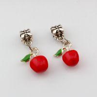 cuentas rojas para collar al por mayor-30 unids / lote Red Enamel Apple Alloy Dangle Charm Beads Fit Charm necklace DIY Accesorios 13x30mm A-523a