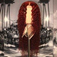 bébé cheveux humains dentelle frontale achat en gros de-99j perruque de cheveux humains bouclés brésiliens de couleur 13x6 perruque frontale de dentelle préplucked avec des cheveux de bébé Bourgogne pleine perruque de dentelle Remy