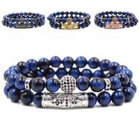 Wholesale bracelet for women blue stone resale online - 201908 High Quality Natural Blue tiger eye micro inlaid zircon mm Stone Men s Bracelet Fashion Charm Bracelet for Women Men jewelry M481A