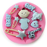 fondant baby dekorationen großhandel-Qualitäts-Baby-Bär Herz Stern-Kuchen-Dekoration-Form-Silikon-Fondant-Seifen-Form-Schokoladen-Fondant Sugar Werkzeug verziert