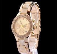 sinobi cerámica al por mayor-2019 reloj de oro para mujer Vestido blanco Marca completa Diseñador de moda relojes de diamantes pulsera de cerámica reloj de calendario de acero inoxidable