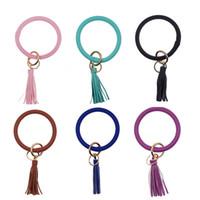 porte-clés pour les filles achat en gros de-Tassel Charms Bracelets Porte-clés De Mode Tendance Populaire Bracelets Porte-clés En Cuir Wrap Bracelets Porte-clés Lady Fille Cadeaux 8cp N1