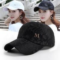 lace baseball hats venda por atacado-Mulheres chapéu de beisebol m carta Cap Mulheres Cap Camionista Ao Ar Livre rendas Snapback Moda Hip Hop Cap Snapback Chapéus LJJK1680