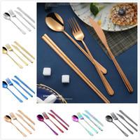 cuchillos de cocina de acero inoxidable al por mayor-Conjuntos de cubiertos coreanos de acero inoxidable mango largo cuchillo tenedor cuchara palillos set cubiertos coloridos para la boda accesorios de cocina