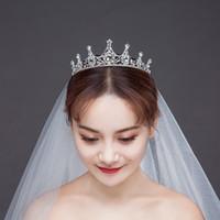 einfache tiara krone großhandel-NEUE Braut Hochzeit Tiaras und Kronen Strass Einfache Krone für Bräute Tiara Mädchen Brithday Party Crown Haarband Kopfbedeckung S551