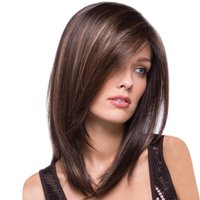 Wholesale hot lady cosplay resale online - Factory price pc Women Fashion Lady Brown Synthetic Medium Long Hair Natural Cosplay Wigs Stand Cosplay Hot Jan8