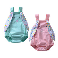 Wholesale boutique easter clothing for sale - Easter Baby girls Rabbit ears romper cartoon infant bunny Jumpsuits summer Fashion Boutique kids Climbing clothes C5756