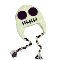 Wholesale Super Cool Ghost Hat Handmade Knit Crochet Baby Boy Girl Halloween Costume Kids White Skeleton Cap Infant Newborn Photo Prop