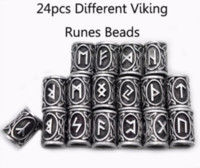 Wholesale photo bracelets for resale online - 24pcs Real Photo High Quality Norse Viking Runes Metal Charm Beads for Bracelets for Pendant Necklace DIY for Beard or Hair