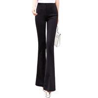 ingrosso abiti da sera formali neri per le donne-2019 New Spring Donna Solid Black Solid Long Flare Pants Formal Office Lady Pantaloni a vita alta Eleganti Slim Business Suit