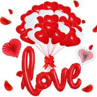ingrosso fan di carta rosa-Nuovo 12 pollici in lattice a forma di palloncino a forma di palloncino in lattice Set Fan bianco rosa per il matrimonio Proposta di forniture di nozze