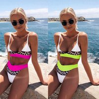 ingrosso beachwear americano-Nuovo stile europeo e americano 2019 donne bikini set costumi da bagno vita alta patchwork leopard stampa costume da bagno donna bikini beachwear