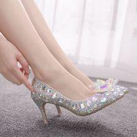 sapatos de dama de honra strass venda por atacado-Cinderella Glass Slipper Sexy sete centímetros Apontado de salto alto fino com strass Sequins vidro da dama de honra do casamento Shoes