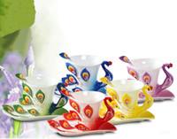 tazas de esmalte de ceramica al por mayor-3D del pavo real del esmalte taza de cerámica Juego de tazas de té de la leche Recipientes creativo de China amigo Regalo de hueso