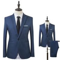 tek parça tatil amaçlı takım elbiseleri toptan satış-Erkekler Slim Fit Iş Eğlence Bir Düğme Resmi Iki Parçalı Damat Düğün Suit Erkekler için Takım Elbise Kostüm Homme