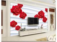 ingrosso camera da letto rosa rossa-Personalizzato 3d foto murale carta da parati home decor 3D Curve Rosa Rossa Camera Da Letto Divano TV Sfondo Wall Sticker papel de parede