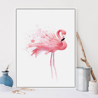 pássaros da arte da parede da lona venda por atacado-Posters Nordic Watercolor Pássaro Flamingo e Pintura Animal Prints Canvas Wall Art Imagem Arte para Sala Decoração