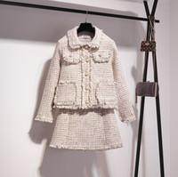 ingrosso gonna moda disegni-New fashion design primavera femminile bianco plaid nappa bordare tweed cappotto corto di lana e una linea di gonna corta twinset vestito