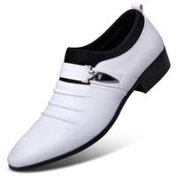 mocasines de vestir de cuero para hombres al por mayor-Zapatos de boda de cuero para hombre de Masorini Formal Negro Heren Schoenen Oxford para hombre Vestido 2018 Mocasines WW-530