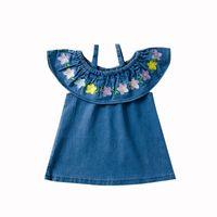 ingrosso abiti ricamati di denim-Neonate fuori spalla fiore Denim Dress bambini Ricamato bretelle principessa abiti 2019 estate boutique Abbigliamento bambini C6323